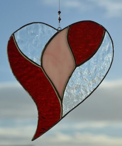 Stained glass sun catcher heart