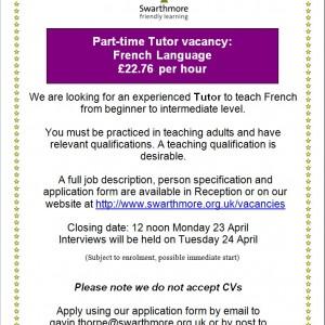 French tutor advert