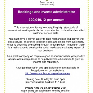 Bookings and Events Administrator advert-1