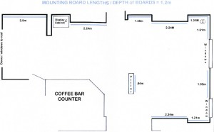 Plan of exhibition space which we have available for hire
