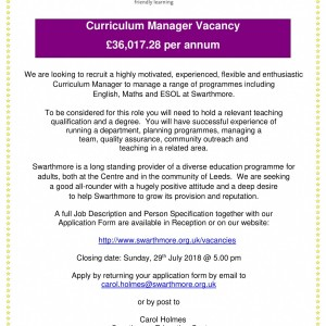 Curriculum Manager Advert - July 2018-1